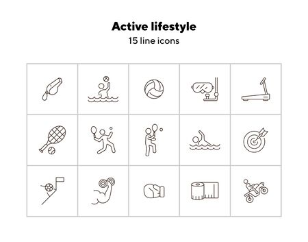Active lifestyle line icon set. Tennis, water sport, game. Sport concept. Can be used for topics like training, physical activity, match