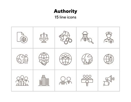 Authority line icon set. Police officer, detective, globe, handshake. Authority concept. Can be used for topics like foreign relations, politics, human right court Foto de archivo - 142020123