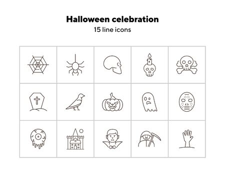 Halloween celebration line icons. Grim Reaper, ghost, pumpkin. Halloween concept. Vector illustration can be used for topics like holiday, festivals, celebration 向量圖像