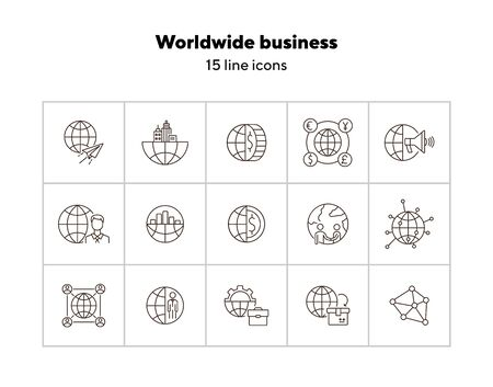 Worldwide business line icon set. Planet, currency, diagram, businessman. Business concept. Can be used for topics like finance management, investment, partnership Ilustração