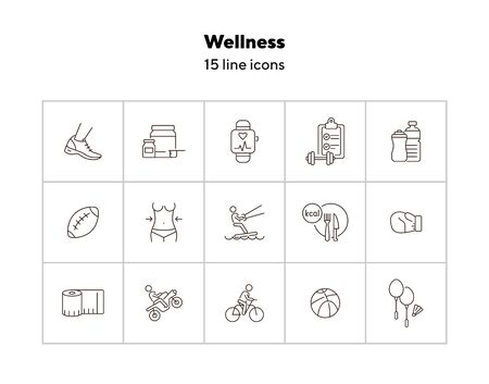 Wellness line icon set. Equipment, sport, supplement. Physical activity concept. Can be used for topics like slimming, exercising, recreation Ilustracja