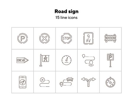 Road sign icons. Compass, split arrow, destination. Road sign concept. Vector illustration can be used for topics like traffic, road marking, traffic striping