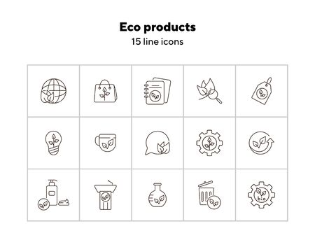 Eco products icons. Set of line icons. Notebook, liquid soap, light bulb. Eco technology concept. Vector illustration can be used for topics like ecology, technology, environment Vectores