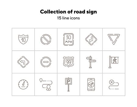 Collection of road sign line icons. Parking sign, yield ahead, access denied. Road sign concept. Vector illustration can be used for topics like traffic, road marking, traffic striping Vector Illustration