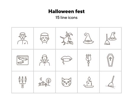 Halloween fest line icons. Sconce, bats on screen, witch on broom. Halloween concept. Vector illustration can be used for topics like holiday, festivals, celebration Illustration