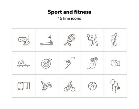 Sport and fitness line icon set. Cycling, tennis, game. Entertainment concept. Can be used for topics like physical activity, training, match Ilustracja