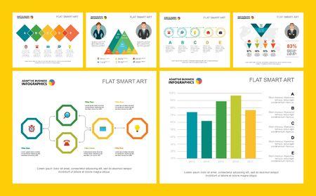 Ensemble de graphiques infographiques de concept de finance ou de recherche coloré. Éléments de conception d'entreprise pour les modèles de diapositives de présentation. Peut être utilisé pour le rapport financier, la mise en page du flux de travail et la conception de brochures.