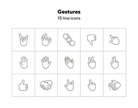 Gestures line icon set. Gesturing isolated sign pack. Gestures concept. Vector illustration symbol elements for web design Ilustração