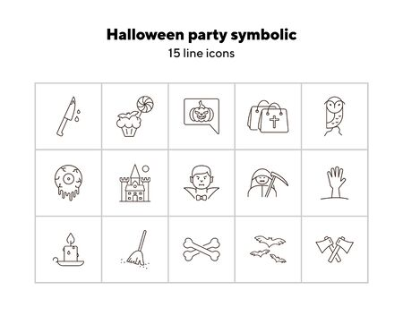 Halloween party symbolic icons. Bats, melting eye, sweeping broom. Halloween concept. Vector illustration can be used for topics like holiday, festivals, celebration