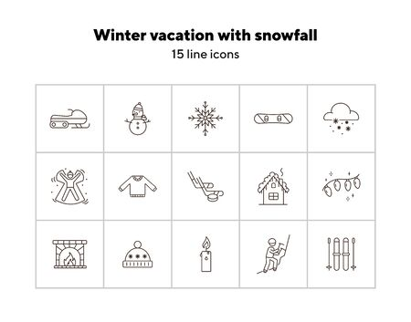 Winter vacation line icon set with snowfall and snowman. Snowboard, snowflake, snowmobile, snow angel. Hello winter concept. Can be used for topics like New year, holidays, outdoor activity
