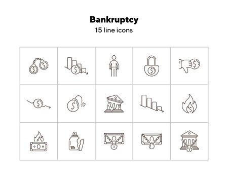 Bankruptcy icons. Set of line icons on white background. Financial crime, decrease, burning money. Economic depression concept. Vector illustration can be used for topics like finance, banking, money  イラスト・ベクター素材