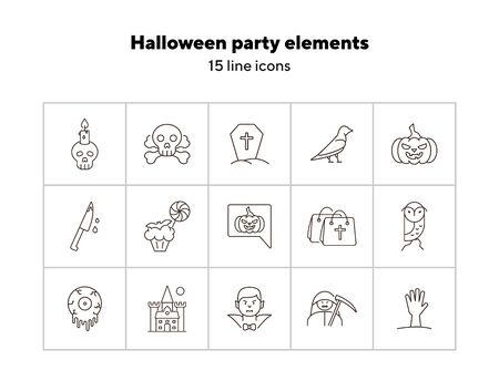 Halloween party elements line icons. Cut hand, skull with crossed bones, Dracula. Halloween concept. Vector illustration can be used for topics like holiday, festivals, celebration