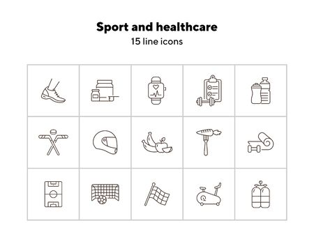 Sport and healthcare line icon set. Healthy eating, exercising, game. Slimming concept. Can be used for topics like weightloss, sport, sports equipment Ilustracja