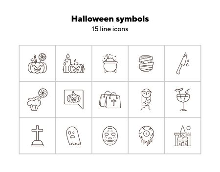 Halloween symbols line icons. Owl, castle, crossed bones. Halloween concept. Vector illustration can be used for topics like holiday, festivals, celebration