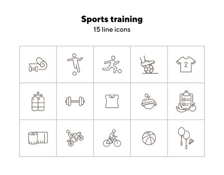 Sports training line icon set. Slimming, soccer, cycling. Exercising concept. Can be used for topics like healthy lifestyle, activity, game Ilustracja