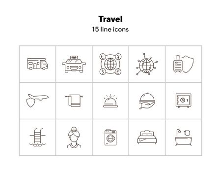 Travel line icon set. Camper, globe, hotel, flight. Vacation concept. Can be used for topics like trip, journey, service