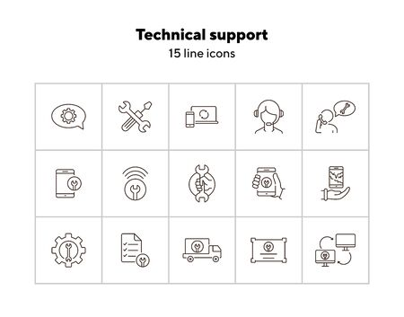 Technical support line icon set. Tools, operator, smartphone. Digital gadgets concept. Can be used for topics like online help, call center, customer service