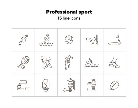Professional sport line icon set. Tennis, supplement, game. Competition concept. Can be used for topics like wellness, training, healthy lifestyle