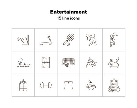 Entertainment line icon set. Tennis, soccer, diet. Sport concept. Can be used for topics like game, activity, wellness