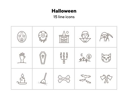 Halloween line icons. Coffin, vampire, crossed bones. Halloween concept. Vector illustration can be used for topics like holiday, festivals, celebration 向量圖像
