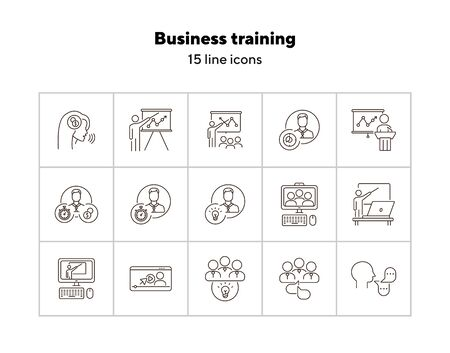 Business training icons. Speaker, group of speakers, training on screen. Training concept. Vector illustration can be used for topics like education, internet, business Vecteurs