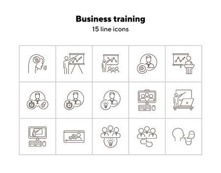 Icônes de formation commerciale. Intervenant, groupe d'intervenants, formation sur écran. Notion de formation. L'illustration vectorielle peut être utilisée pour des sujets tels que l'éducation, Internet, les affaires Vecteurs
