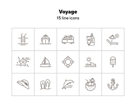 Voyage line icon set. Cruise liner, van, vessel, ship. Beach concept. Can be used for topics like travel, trip, vacation, journey