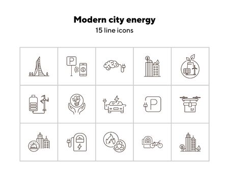 Modern city energy icons. Set of line icons. Quadcopter with box, car charging station, windmill. Alternative energy concept. Vector illustration can be used for topics like environment, ecology Vectores