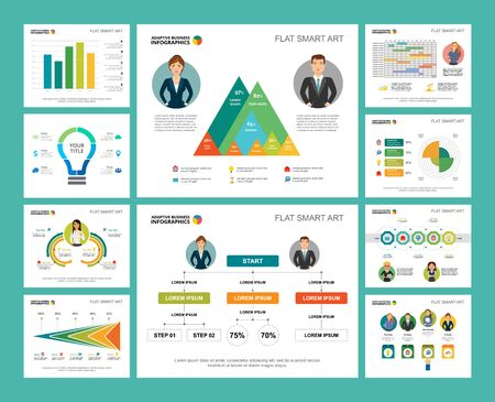 Colorful research or statistics concept infographic charts set. Business design elements for presentation slide templates. Can be used for financial report, workflow layout and brochure design. Ilustração Vetorial