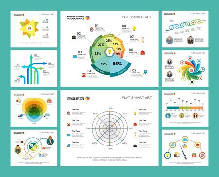 Colorful accounting or production concept infographic charts set. Business design elements for presentation slide templates. For corporate report, advertising, leaflet layout and poster design.