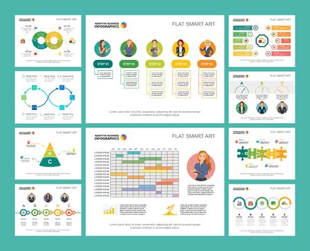 Colorful workflow or strategy concept infographic charts set. Business design elements for presentation slide templates. Can be used for financial report, workflow layout and brochure design.