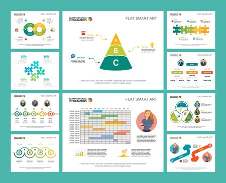 Colorful workflow or research concept infographic charts set. Business design elements for presentation slide templates. Can be used for financial report, workflow layout and brochure design. Ilustração Vetorial