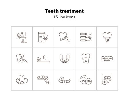 Teeth treatment line icon set. Dentist tools, injection, braces. Dental care concept. Can be used for topics like denture, dentistry, stomatology Ilustração