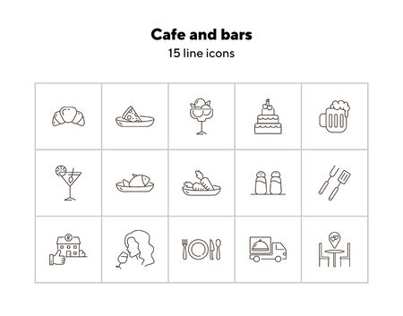 Cafe and bars line icon set. Coffee dessert, beer, pizza, meat isolated outline sign pack. Restaurant business concept. Vector illustration symbol elements for web design and apps