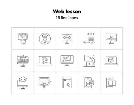 Web lesson line icon set. Computer, smartphone, online platform. E-learning concept. Can be used for topics like education, degree, class