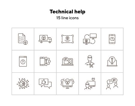 Technical help line icon set. Wrench, gear, smartphone, computer. Digital gadgets concept. Can be used for topics like online help, service center, repair