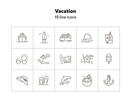 Vacation line icon set. Sunscreen lotion, sun bed, diving. Seaside concept. Can be used for topics like tropical resort, summer activities, holidays