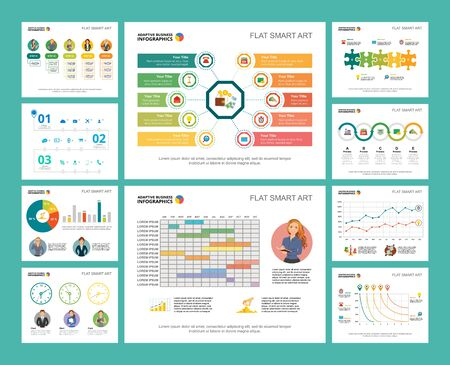 Colorful teamwork or planning concept infographic charts set. Business design elements for presentation slide templates. Can be used for financial report, workflow layout and brochure design.