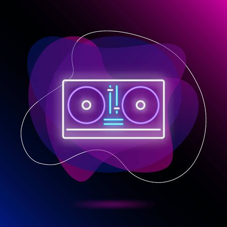DJ mixer neon sign. Luminous signboard with turntable. Night bright advertisement. Vector illustration in neon style for party, entertainment, music