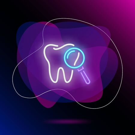 Dental exam neon sign. Luminous signboard with tooth and magnifying glass. Night bright advertisement. Vector illustration in neon style for dentistry, hygiene, enamel Stock Illustratie