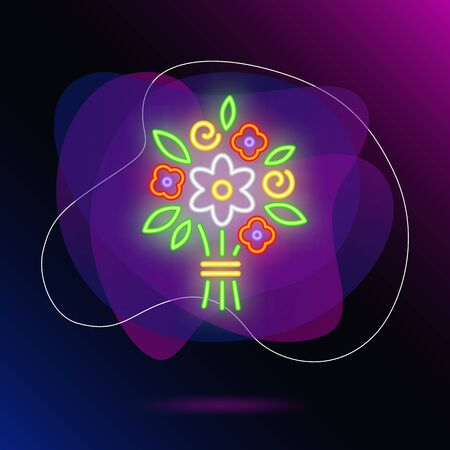 Bright flower bouquet neon sign. Glowing colorful flowers on brick wall background. Vector illustration can be used for romantic, love