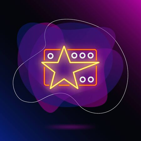 Card with star neon sign. Glowing prize with star on brick wall background. Vector illustration can be used for contest, music, competition