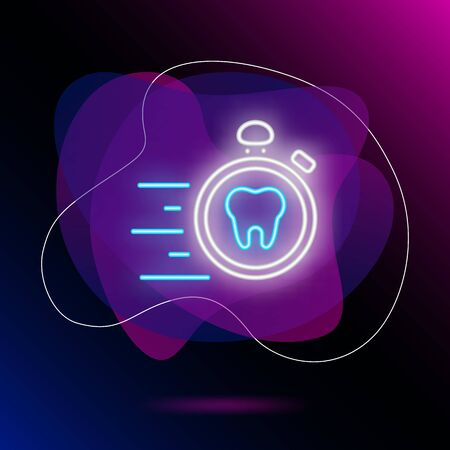 Emergency dental care neon sign. Luminous signboard with tooth and stopwatch. Night bright advertisement. Vector illustration in neon style for commercial, dentistry, clinic