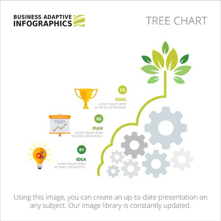 Tree chart with three steps. Process diagram, metaphor chart, layout. Creative concept for infographics, presentation, project, report. Can be used for topics like business, planning, startup. Zdjęcie Seryjne