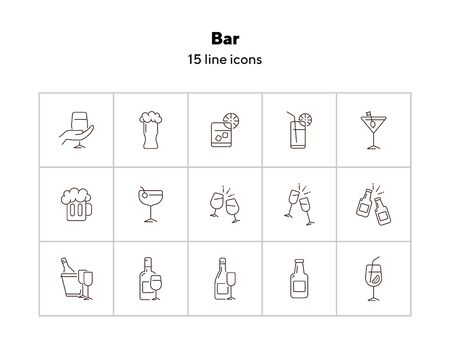 Bar line icons. Set of line icons. Beer mug, bottle with glass. Beverage concept. Vector illustration can be used for topics like advertising, business