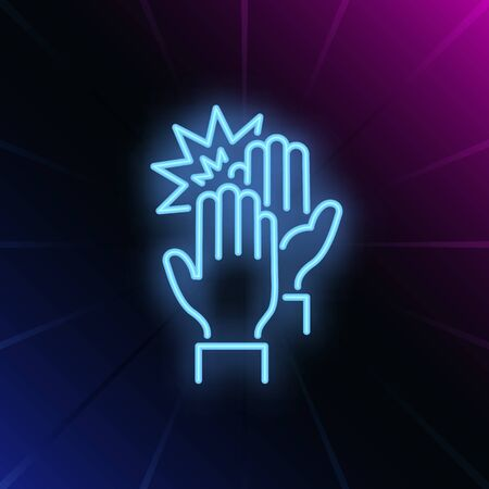 High five neon sign. Glowing neon two hands on brick wall background. Vector illustration can be used for gesturing, communication, chatting