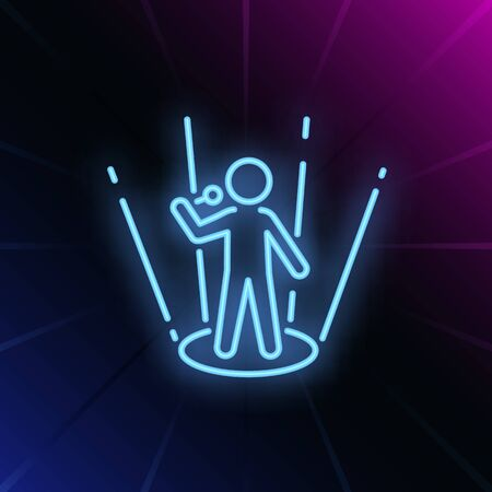 Singer neon sign. Glowing person with microphone on scene on brick wall background. Vector illustration can be used for music, song contest, TV show