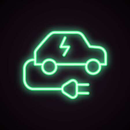 Green neon icon of charging station for electric car. Electric vehicle, car battery, ecological transport. Urban services concept. Can be used for signboards, posters, web design
