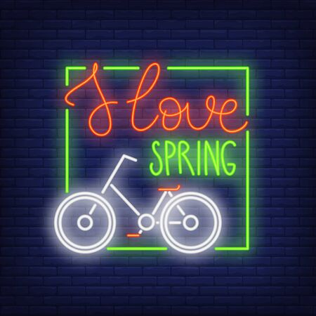 I love spring neon sign. Classical bicycle in green frame. Night bright advertisement. Illustration in neon style for leisure and activity