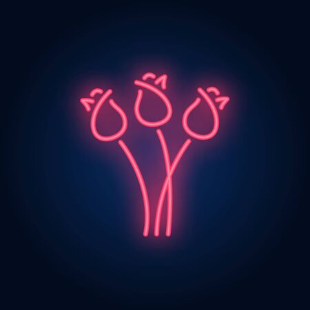 Tulips neon sign. Glowing three flowers on brick wall background. Vector illustration can be used for romantic, love